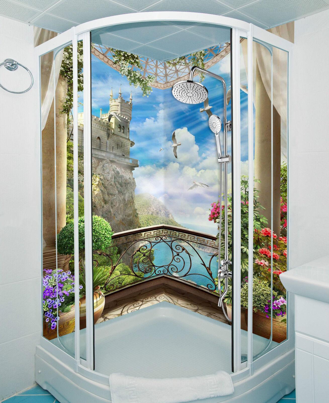 3D Lake Castle Balcony WallPaper Bathroom Print Decal Wall Deco AJ WALLPAPER CA