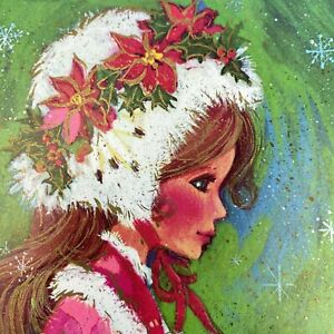 Vintage-Mid-Century-Christmas-Greeting-Card-Pretty-Girl-Pink-Dress-Fur-Hat-Muff