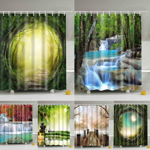 Shower Curtain With 12 Hooks Beautiful Scenery Pattern Waterproof Bathroom Decor