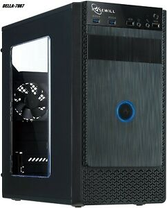 Black Computer PC Case, ATX Mini Tower, Side Window and Fans Two FBM-X1