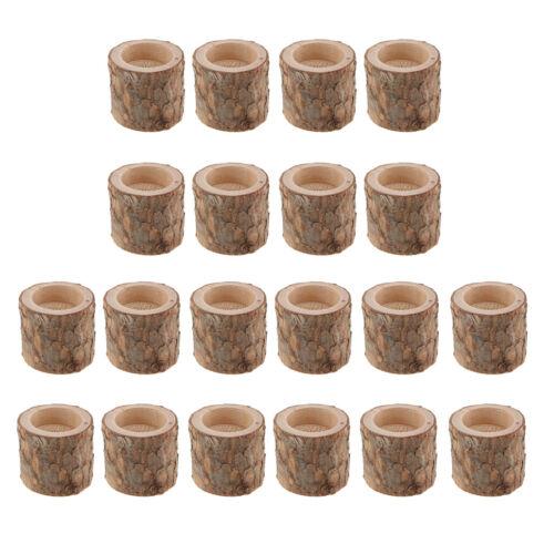 20x Natural Toco De Árvore De Madeira Castiçal Lamparina para jantar a luz de velas
