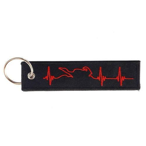rote EKG-Muster schwarz rot Stickerei Schlüssel Motorrad C0D1 Schlüsselanhänger