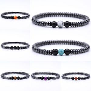 Pierre-naturelle-Homme-Charme-Hematite-turquoise-Bracelet-de-perles-Bijoux-Mode