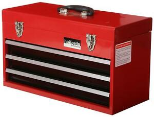 Halfords-Professional-Tool-Chest-Red-3-Drawer-Metal-Portable-Friction-Slide