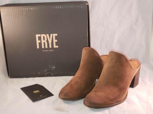 FRYE Suede Leather Block Heel Mules - Naomi - BRO… - image 1