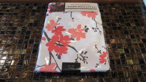 Spring Summer Polyester Tablecloth Flowers Salmon Pink Blossoms Oriental NEW