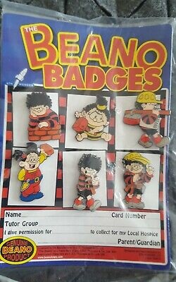 6 DENNIS THE MENACE BEANO CARTOON COMIC  CHARACTER ENAMEL PIN BADGE COLLECTION