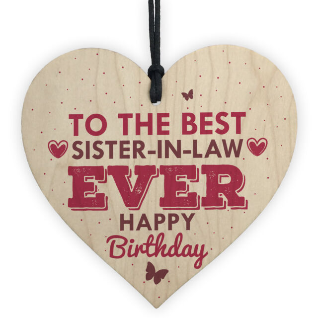 Handmade Sister In Law Wooden Heart Chic Birthday Gifts For Her Friendship Sign