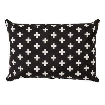 Bloomingville Kissen XL schwarz weiß Kreuz Design Muster 60x90
