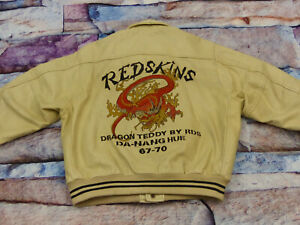 REDSKINS-CASUAL-LEDERJACKE-DRAGON-TEDDY-BEIGE-VARSITY-RETRO-LEE-GR-M-RARITAT