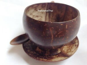 Image is loading Coconut-Shell-Cup-HandCraft-Thai-Coffee-Cocktail-Mug-  sc 1 st  eBay & Coconut Shell Cup HandCraft Thai Coffee Cocktail Mug Glass Tea Spoon ...