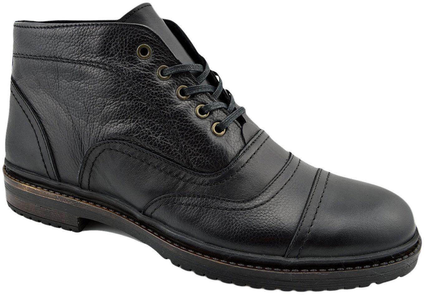 200 REACTOR Black Calf Leather CAP TOE Oxfords Ankle Boots Men shoes
