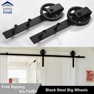 5 16ft Sliding Barn Door Hardware Track Kit Black Wheel