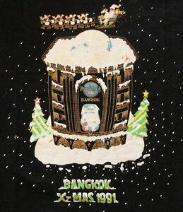 Hard-Rock-Cafe-BANGKOK-1991-CHRISTMAS-Black-Tee-T-SHIRT-LG-21-034-x-18-034-NICE