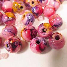 120 Wood 10MM Round Spacer Craft Beads Handpainted LT Pink FREE GLASS SEED BEADS