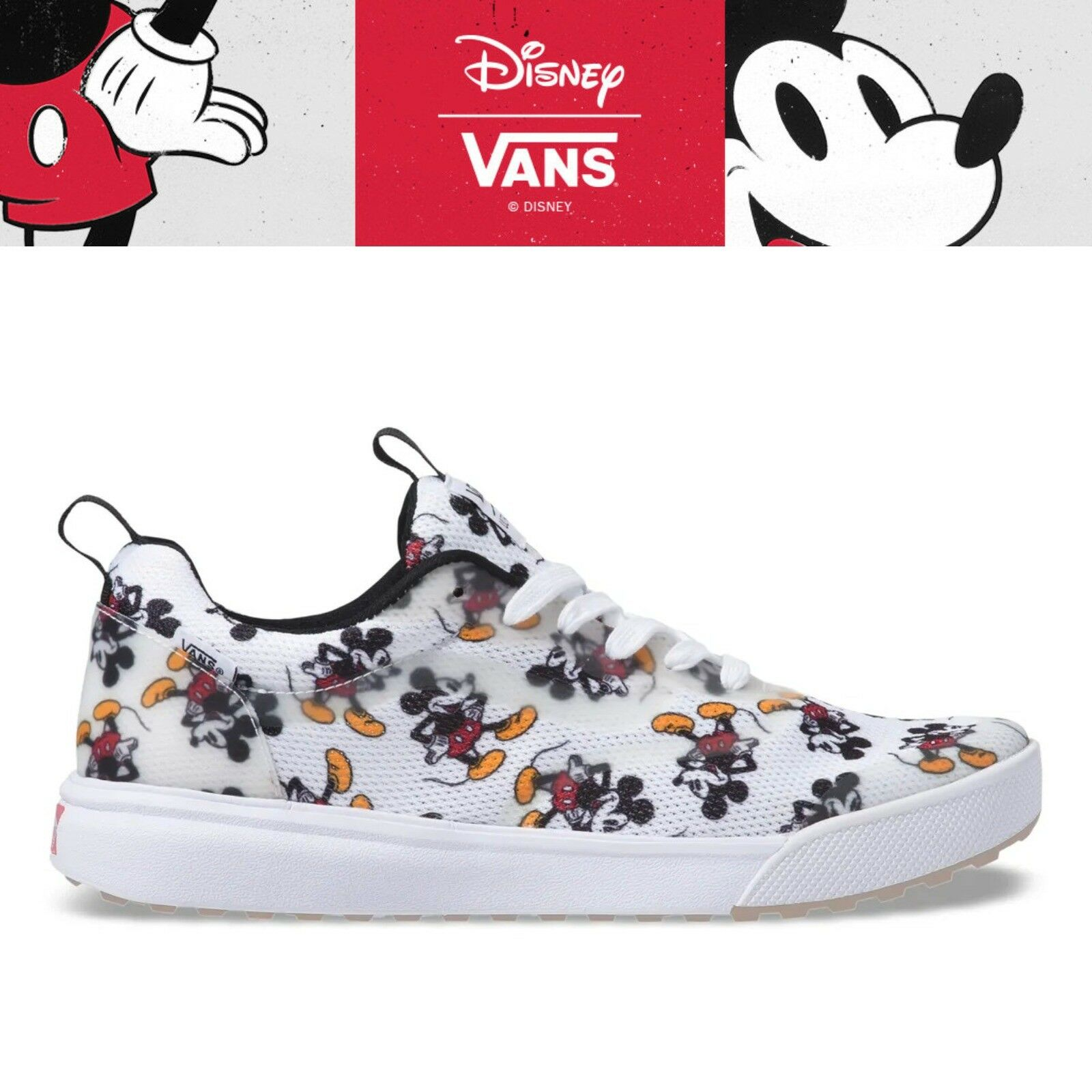 New VANS X DISNEY UltraRange Rapidweld Mickey Mouse 90th Collection - White