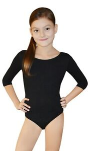 Girls-Gymnastics-Dance-School-Black-White-Leotards-3-4-Length-Sleeve-Age-6-12