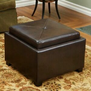 Details About Durban Brown Leather Tray Top Storage Ottoman