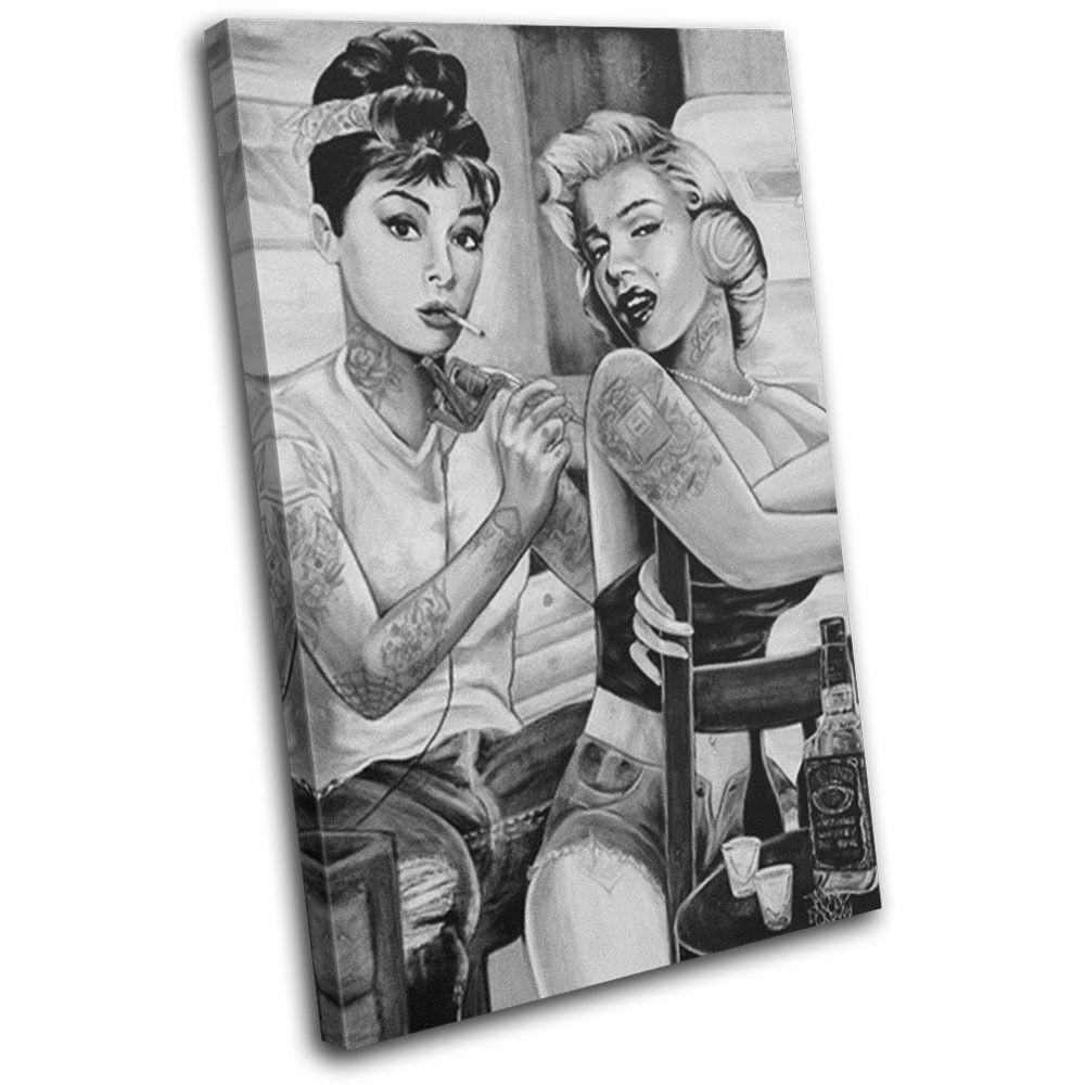 Monroe Hepburn Tattoo  Vintage SINGLE TOILE murale ART Photo Print