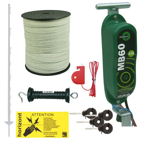 MB60 12v Horse Fencing Strip Grazing Kit - TALL 4FT 6IN  WHITE Posts & 20mm Tape