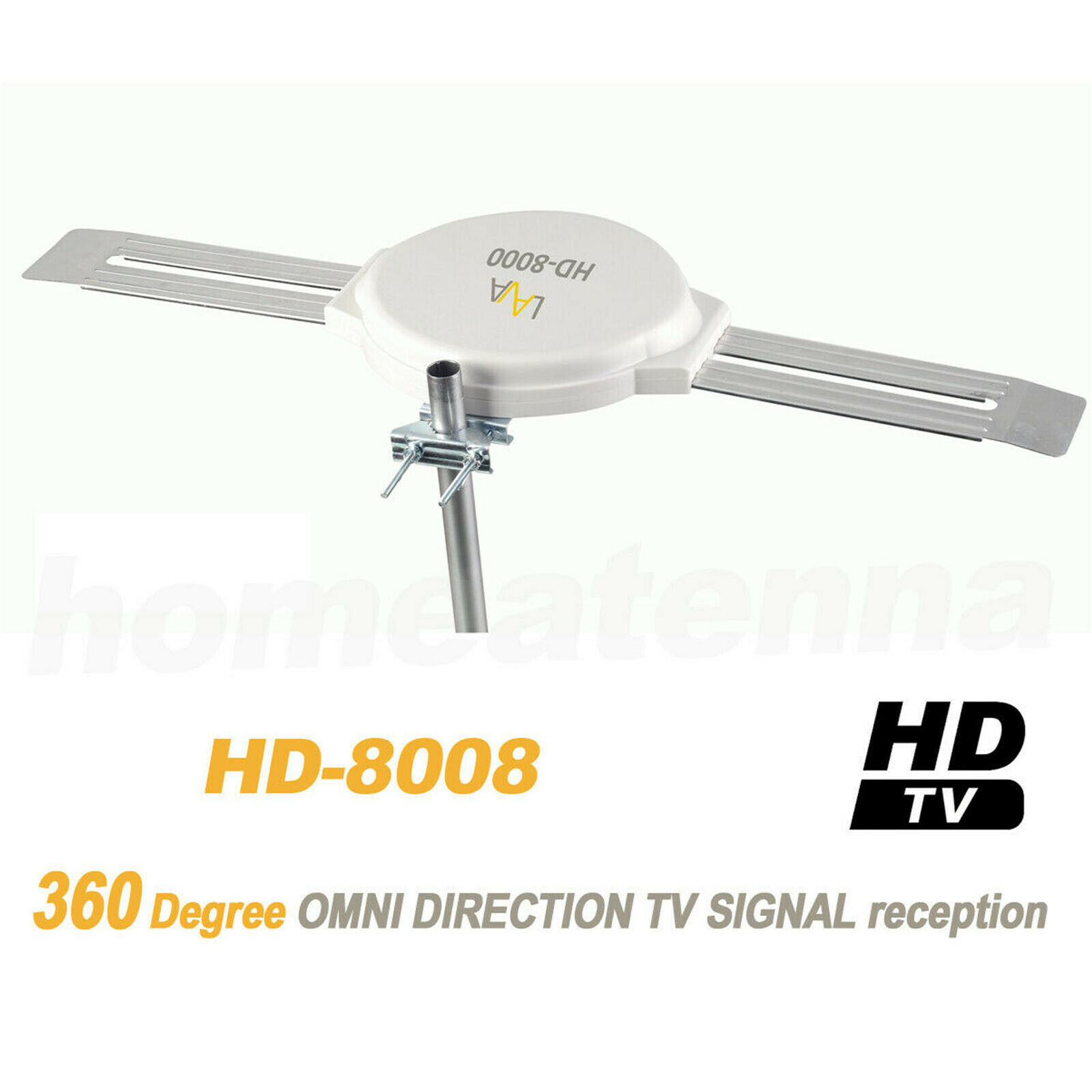 360 DEGREE HDTV DIGITAL AMPLIFIED OUTDOOR DH TV ANTENNA HD VHF W// Bracket/&Cable