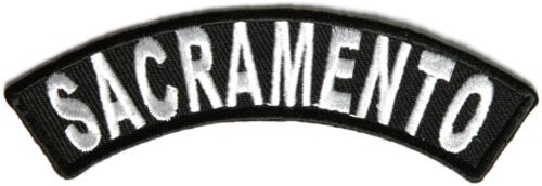 "Sacramento Rocker Iron On Patch 4/"" x 1/"" Free Shipping Biker Veteran P3626"