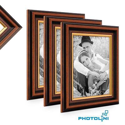 3er Bilderrahmen-set Antik Gold-braun Dunkelbraun Mit Goldkante Holz Foto Rahmen Buy One Give One