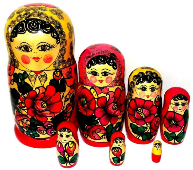 Internet Style Matryoshka Russian Handmade Wooden Nesting Stacking Dolls Art 7pc