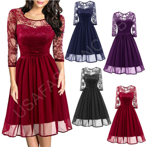 Women/'s Vintage New Lace Cocktail Evening Party Wedding Work Casual Office Dress