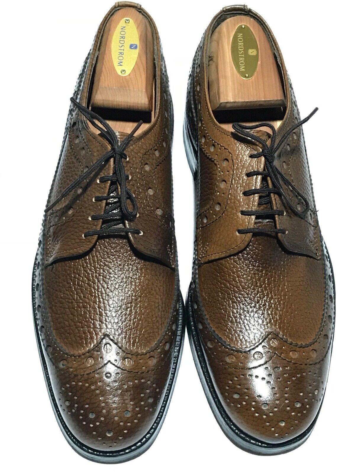 Baycrest Men's Pebble Grain Leather Brown Brogue Wingtips Size - 8 D