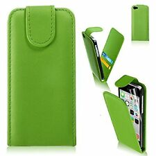 GREEN Leather Flip Case Cover with Card Slots&clip for Apple iPhone 4/4S UK SELL