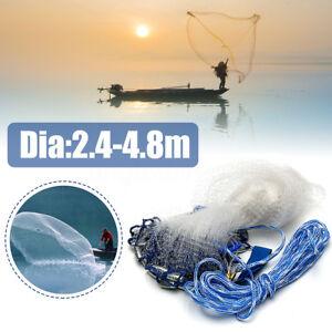 8ft-16ft-Mesh-Mono-Saltwater-Clear-Bait-Drawstring-Fishing-Cast-Catch-Net