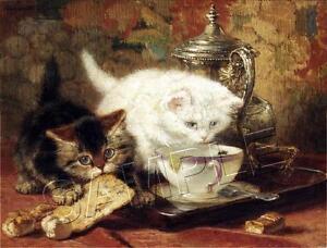 "VINTAGE Knip ""HIGH TEA"" Cats KITTENS *CANVAS* Art LARGE"