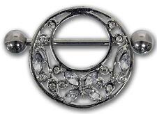 Brustwarzenpiercing FLOWER AND BUTTERFLY klar aus Chirurgenstahl Nipple Shield