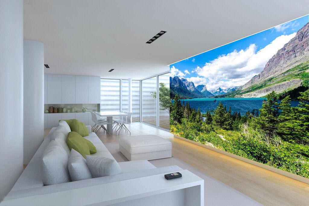 3D Himmel Berg See Wälder 793 Tapete Wandgemälde Tapeten Bild Familie DE Lemon