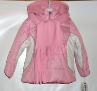 Rothschild Girls Hooded Colorblock Winter Jacket Parka & Fleece Scarf M/5-6