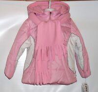 Rothschild Girls Hooded Colorblock Winter Jacket Parka & Fleece Scarf M/5-6
