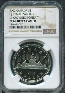 2003-CANADA-1-UNCROWNED-PORTRAIT-OF-QUEEN-LIZ-II-NGC-PF69-UC-w-BOX-amp-COA