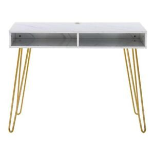 Nordic Simple Modern Marble Iron Metal Foot Computer Desk Table Home Office USA