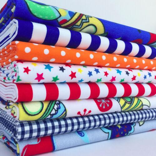 Rockets and Space Themed Polycotton Fabrics Per 1//2 Metre /& 8 Fat Quarter Bundle