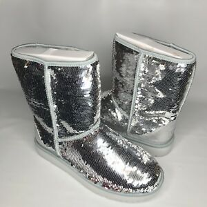 6c4b3139b2c Image is loading UGG-Classic-Short-Silver-Sparkles-Sequin-Sheepskin-Boots-