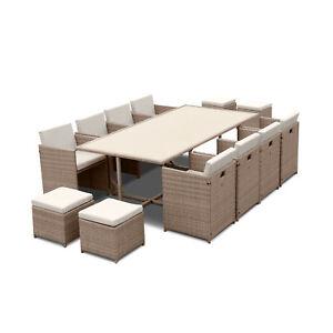 Salon de jardin 8-12 places – Vabo – Coloris Beige, Coussins Beige, table