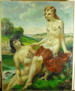 Andre-HOFER-les-nymphes-du-Voudon-1930-HST-100-cm-nu-de-femmes-naked-woman-paint