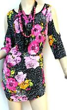 SEXY PINK MULTI COLOR CHEETAH FLORAL COLD SHOULDER slinky stretch TUNIC TOP 2X L