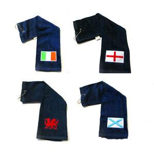 Touch-Golf-Plegable-En-Tres-Toalla-GB-Bandera-Nacional-emblema-con-Mosqueton