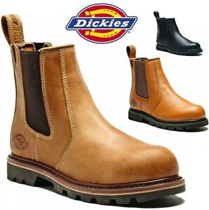 mens dickies leather dealer safety work steel toe cap shoes chelsea welted boots ebay. Black Bedroom Furniture Sets. Home Design Ideas