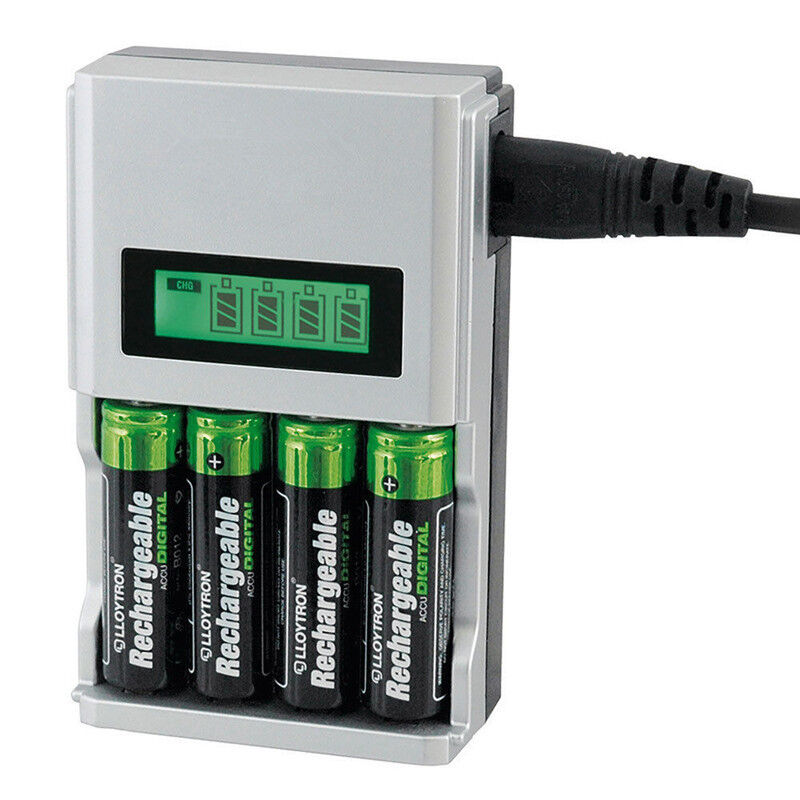 1 Hour SUPER FAST LCD AA or AAA Mains Battery Charger NiMh or NiCad #T08