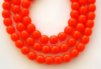 50 Opaque Orange Round Druk Loose Jewelry Making Loose Pressed Glass Beads 6mm