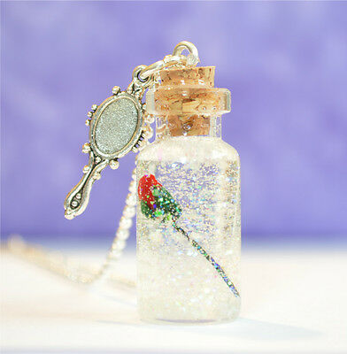 Enchanted Rose Glass Bottle Pendant Necklace, Inspired Beauty & Beast, valentine