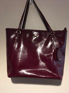 Image Is Loading Coach New York Handbag Burgundy Wine Patent Leather